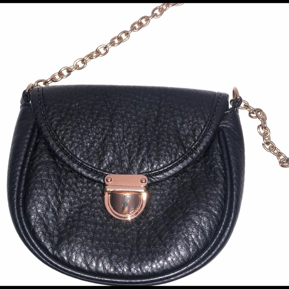 Black Small Crossbody Bag with Chain.